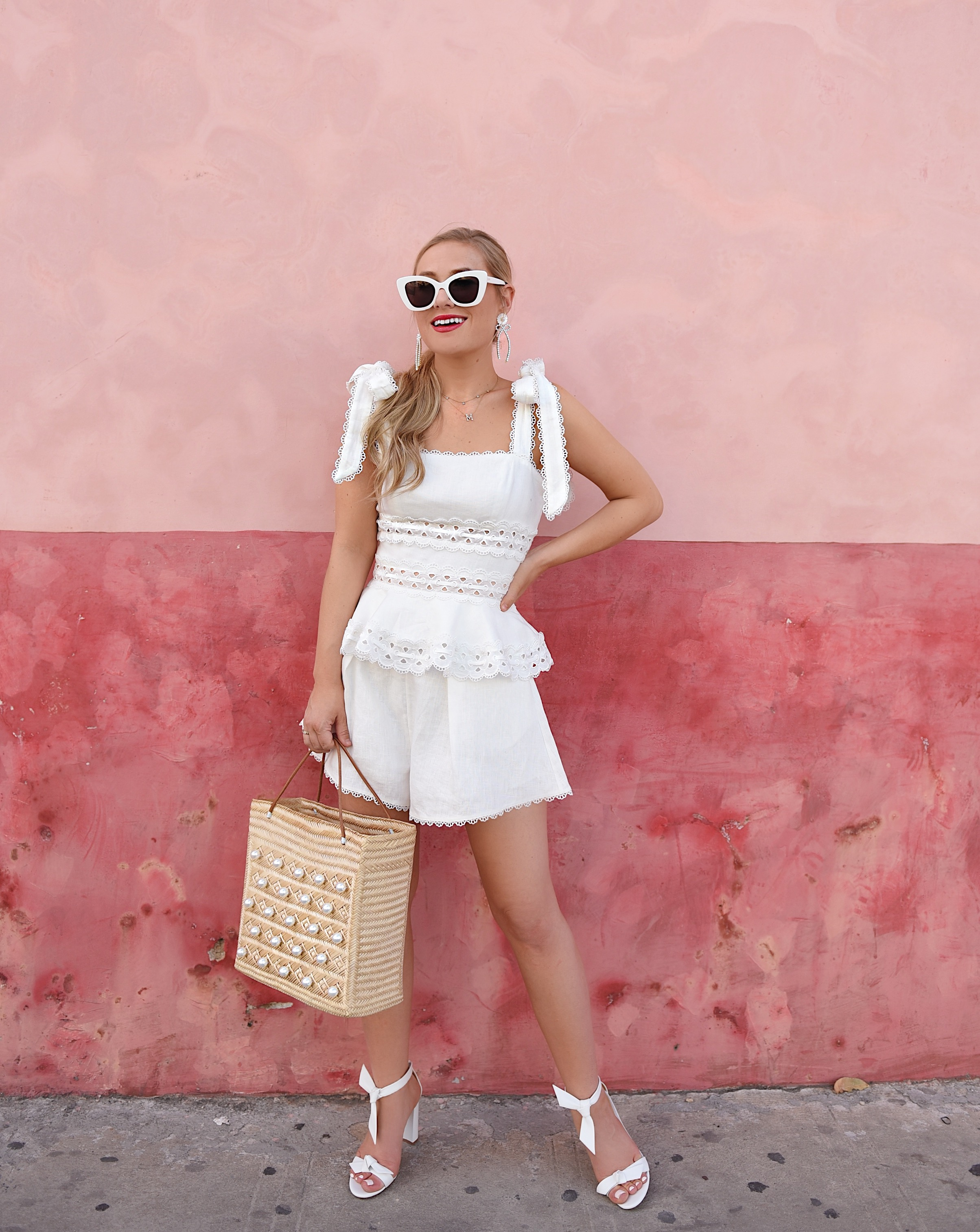 Lo-Murphy-Zimmermann-Kirra-Tie-Shoulder-Cropped-Top-Lace-Trim-Short-White-Matching-set-travel-style-dallas-blogger-white-lace-white-dress