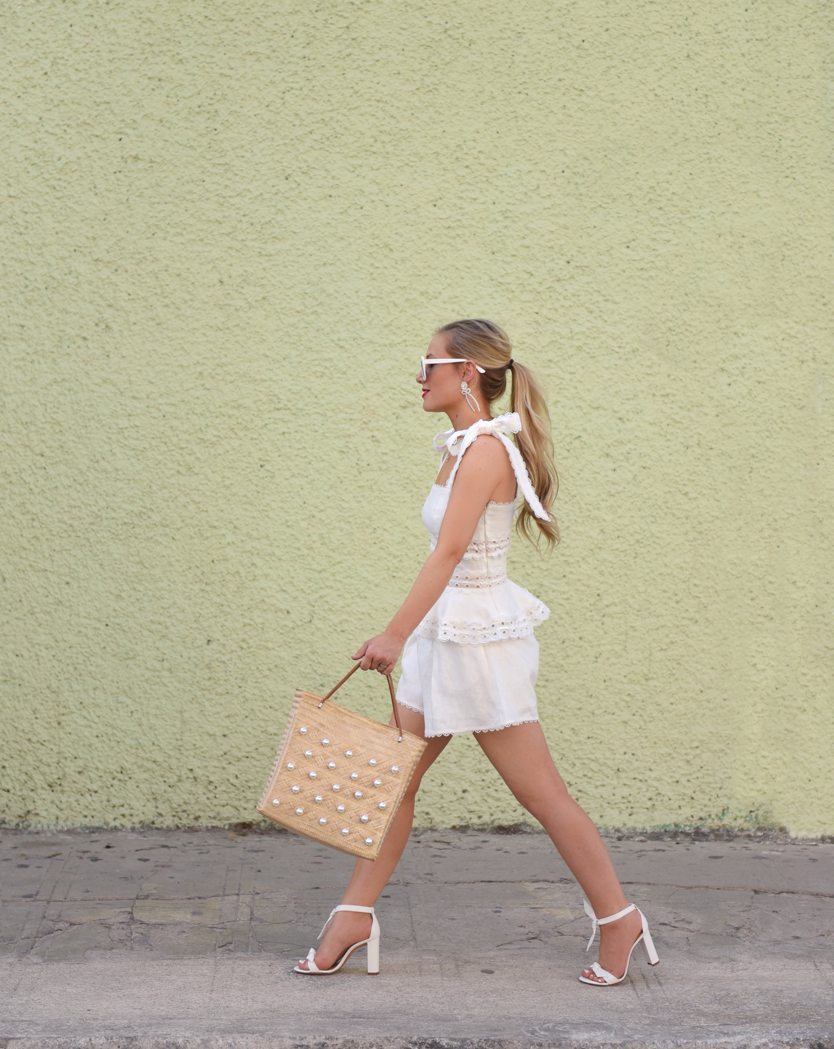 Lo-Murphy-Zimmermann-Kirra-Tie-Shoulder-Cropped-Top-Lace-Trim-Short-White-Matching-set-travel-style-dallas-blogger-woven-tote