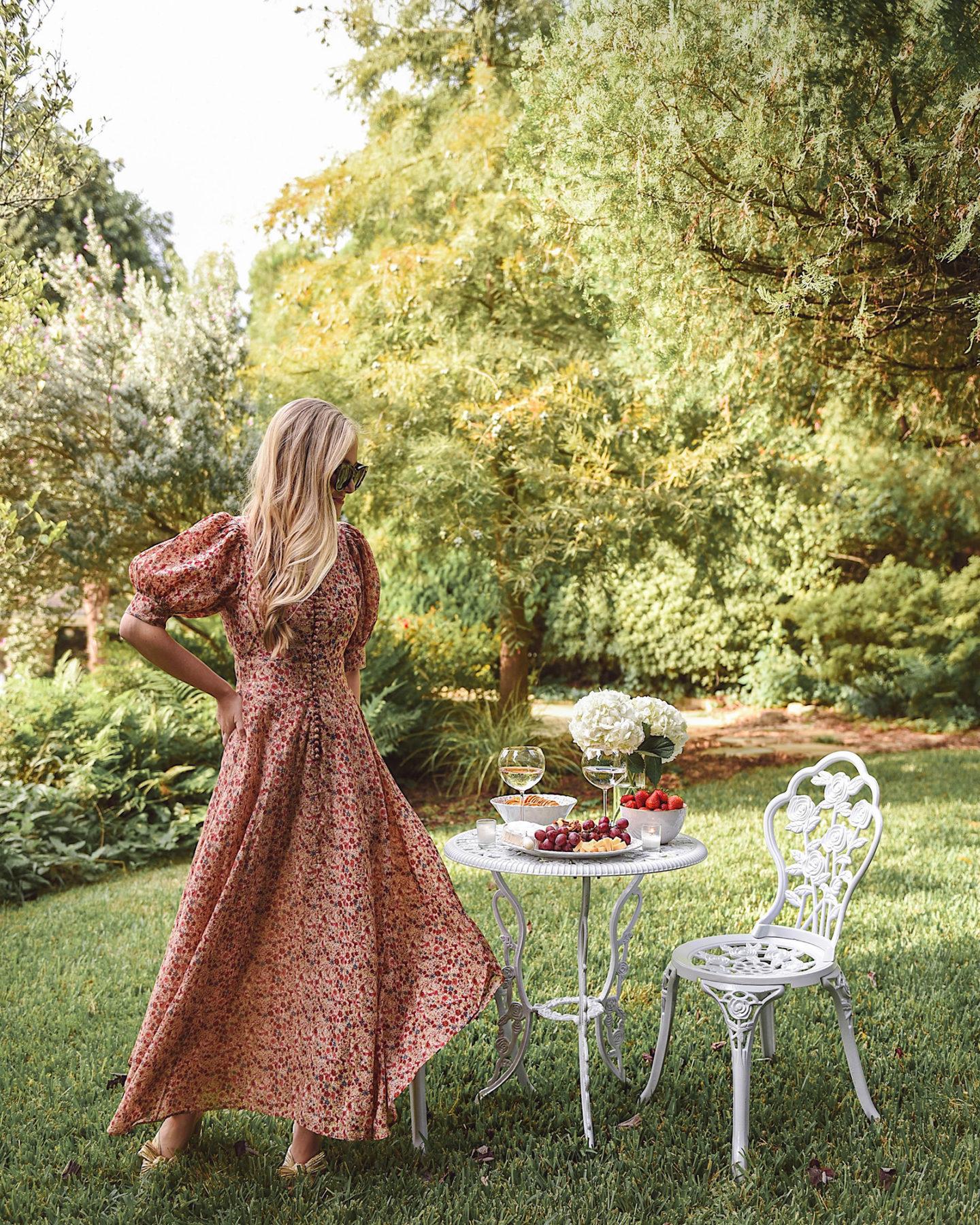 Lo-Murphy-Walmart-Cheeseboard-Date-Night-dallas-blogger-outdoor-furniture-Doen-Dress-fall-dress-floral-dress